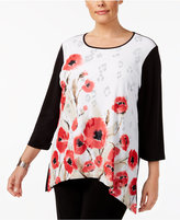 Alfred Dunner Plus Size Saratoga Collection Floral-Print High-Low Tunic