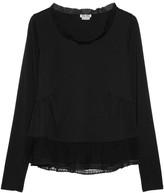 Miu Miu Silk-chiffon and lace-trimmed cotton-jersey top