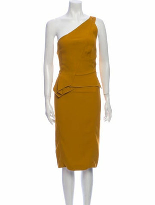 Roland Mouret One-Shoulder Midi Length Dress Yellow