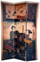 Oriental Furniture 6' Tall Double Sided Japanese Figures Room Divider