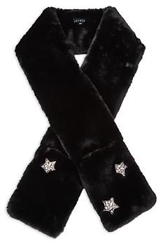Jocelyn Faux Fur & Crystal Star Pocket Scarf