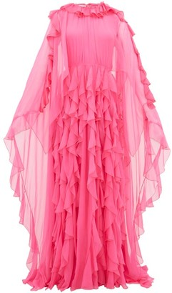 Valentino Ruffle-collar Cape-sleeve Silk-chiffon Gown - Pink