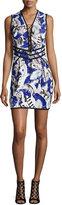Roberto Cavalli Sleeveless Lace-Up Feather-Print Dress, Blue/Rosa