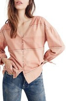Madewell Women's V-Neck Tie Sleeve Top