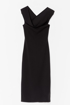 Nasty Gal Womens In the Midi of Something Crossover Cowl Dress - Black - 4, Black