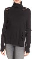 Pam & Gela Women's Destroyed Turtleneck Sweatshirt