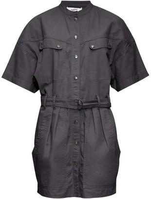 Etoile Isabel Marant Zolina Belted Cotton-canvas Shirtdress - Womens - Black