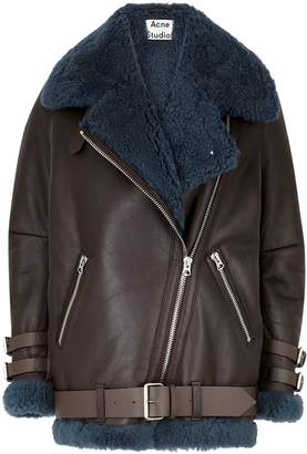Acne Studios Velocite Brown Leather And Shearling Jacket