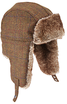 John Lewis Large Check Trapper Hat, Brown