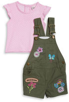 Little Lass Baby Girls Polka Dot Tee and Overalls Set