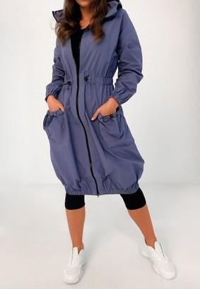 Missguided Blue Long Length Toggle Waist Jacket