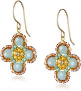 Miguel Ases Amazonite Small Flower Drop Earrings