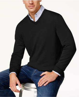 Club Room Men Solid V-Neck Merino Wool Blend Sweater