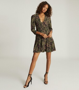 Reiss Ciara - Animal Print Mini Dress in Khaki