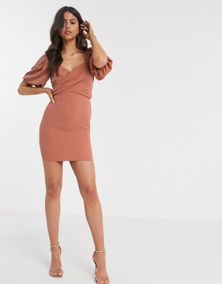 ASOS DESIGN wrap front mini dress with puff sleeves in rust