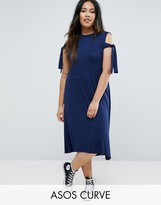 Asos Midi Dress with Seam Detail Hem and Tie Sleeve