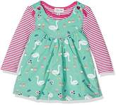 Lilly & Sid Baby Girl's Reversible Pinafore Swan/ Chambray Clothing Set, NA,0-3 Months