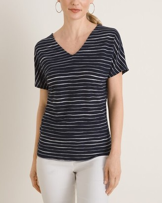 Chico's Striped Linen Knit Tee