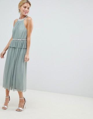 ASOS DESIGN embellished neck tulle midi dress