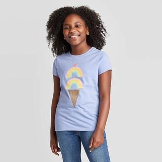Cat & Jack Girls' Short Sleeve Ice Cream Graphic T-Shirt - Cat & JackTM Periwinkle
