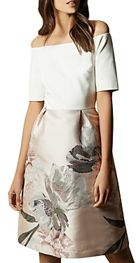 Ted Baker Cathiey Woodland Off-the-Shoulder Jacquard Dress