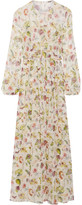 ADAM by Adam Lippes Pleated Floral-print Silk-chiffon Maxi Dress - Ivory