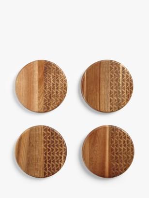 John Lewis & Partners Fusion Pattern Round Acacia Wood Coasters, Set of 4, Natural