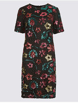 Limited Edition Sequin Flower Short Sleeve Tunic Dress