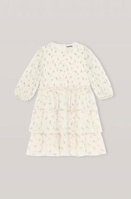 Ganni Georgette Pleated Mini Dress - 36 | polyester | cream | Floral design - Cream