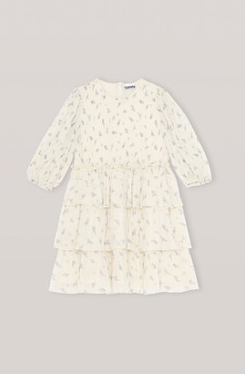 Ganni Georgette Pleated Mini Dress - 36