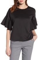 Halogen Women's Mesh Flutter Sleeve Top