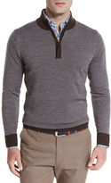 Peter Millar Sueded-Trim Quarter-Zip Sweater