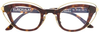 Kuboraum Tortoiseshell Cat-Eye Frame Glasses