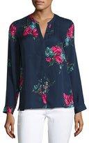 Joie Devitri Floral-Print Silk Shirt, Blue