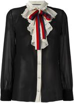 Gucci Web bow georgette shirt - women - Silk/Cotton/Viscose - 42