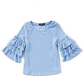 Takara Little Girls 4-6X Ruffle-Sleeve Top