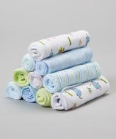 SpaSilk Blue & Green Elephant Washcloth Set