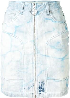 Off-White Bleached-Effect Denim Skirt