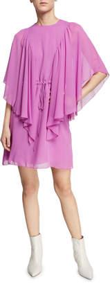 See by Chloe Ruffled Tie-Waist Cape-Sleeve Short Dress