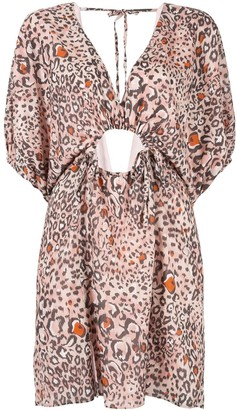 SUBOO Uma leopard print V-neck dress