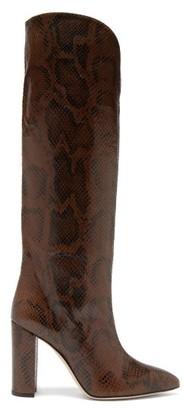 Paris Texas Knee-high Python-effect Leather Boots - Dark Brown