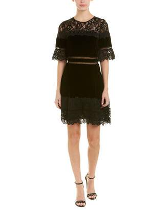 Rebecca Taylor Women's Shortsleeve Velvet & Lace Dress