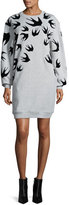 McQ by Alexander McQueen Classic Swallow-Print Sweat Dress, Mercury Melange