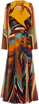 Roberto Cavalli Printed Silk Crepe De Chine Trench Coat