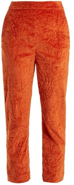 Isa Arfen Slim Leg Crushed Velvet Cotton Blend Trousers - Womens - Dark Orange