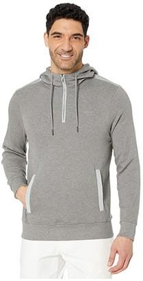 Calvin Klein Long Sleeve Woven Blocked 1/4 Zip Hood (Medium Grey Heather Combo) Men's Sweatshirt