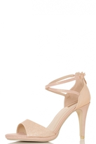 Quiz Rose Gold Shimmer Ankle Strap Sandals