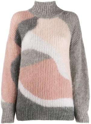 Alberta Ferretti Ribbed Intarsia Knit Jumper