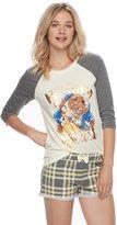 Disney Disney's Beauty and the Beast Juniors' Pajamas: Top & Boxer Shorts PJ Set
