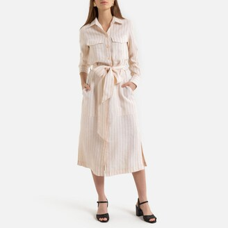 Linen Midi Shirt Dress in Striped Print with Long Sleeves